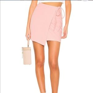Privacy Please pink Miller ribbed wrap mini skirt